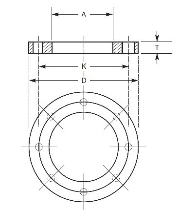 ANSI 150# Backing Ring Flanges Dimensions