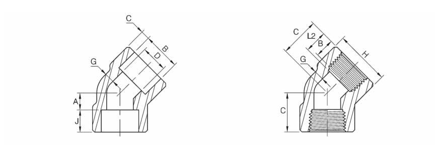 ASME B16.11 45 Degree Elbow Dimensions