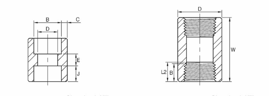 ASME B16.11 Full Coupling Dimensions