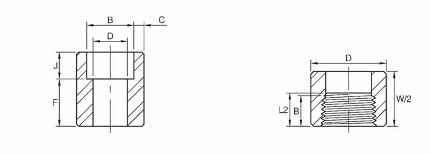 ASME B16.11 Half Coupling Dimensions