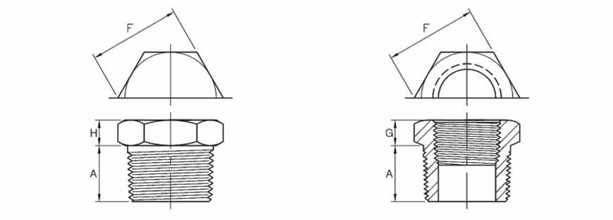 ASME B16.11 Hex Head Plug Dimensions