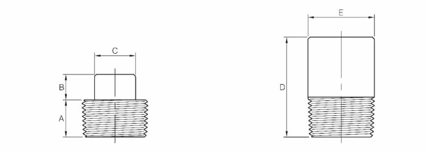 ASME B16.11 Round Head Plug Dimensions